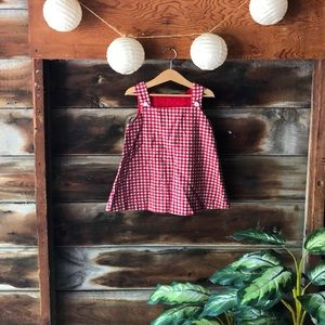 Vintage red flannel houndstooth pinafore dress 60s